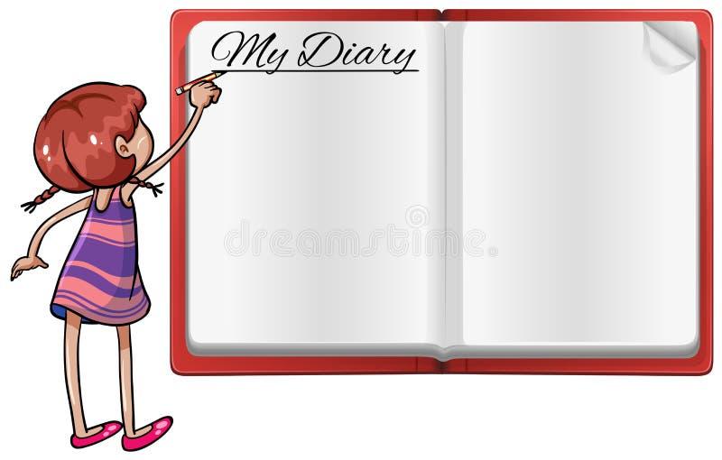 Scrittura della ragazza in diario royalty illustrazione gratis