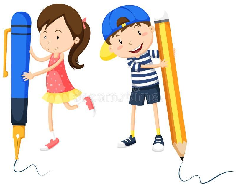 Scrittura della ragazza e del ragazzo sul pavimento illustrazione vettoriale