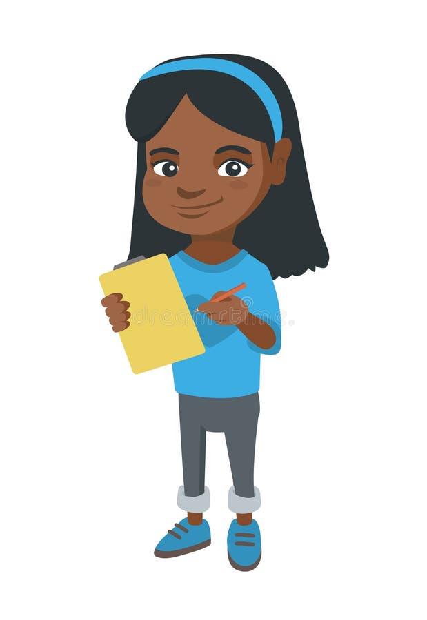 Scrittura della ragazza sulla carta allegata ad una lavagna per appunti illustrazione vettoriale