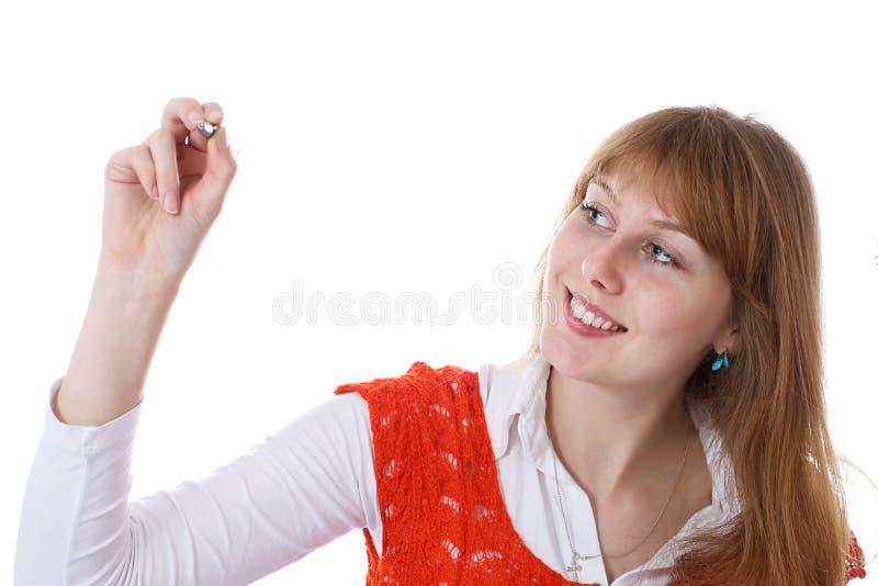 Scrittura della ragazza sullo schermo fotografie stock libere da diritti