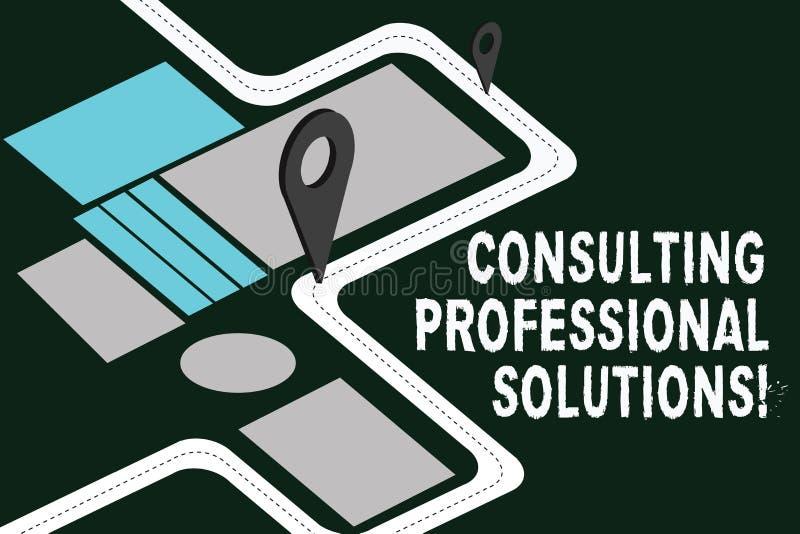 Scrittura della rappresentazione della nota che consulta le soluzioni professionali Foto di affari che montra cercando esperto pe illustrazione vettoriale