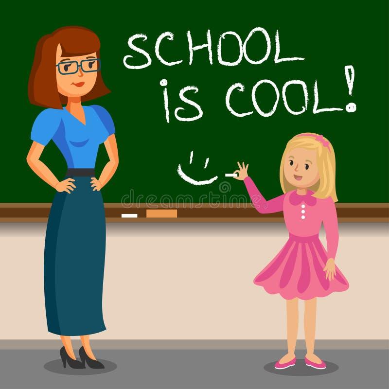 Scrittura della scolara e dell'insegnante sul bordo di gesso Di nuovo al banco royalty illustrazione gratis