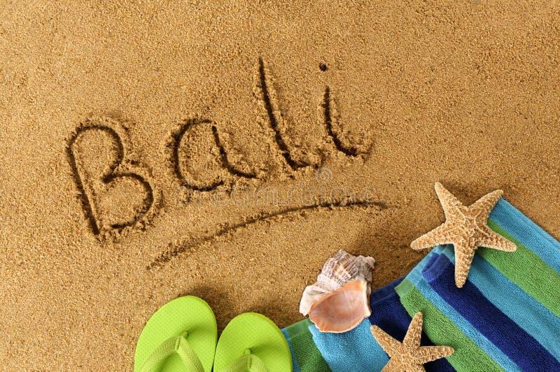 Scrittura della spiaggia di Bali immagini stock libere da diritti