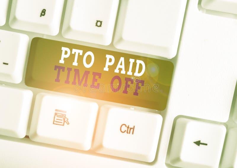 Scrittura di testo Paid Time Off Concetto aziendale per il datore di lavoro concede una compensazione per la dimostrazione delle  fotografia stock