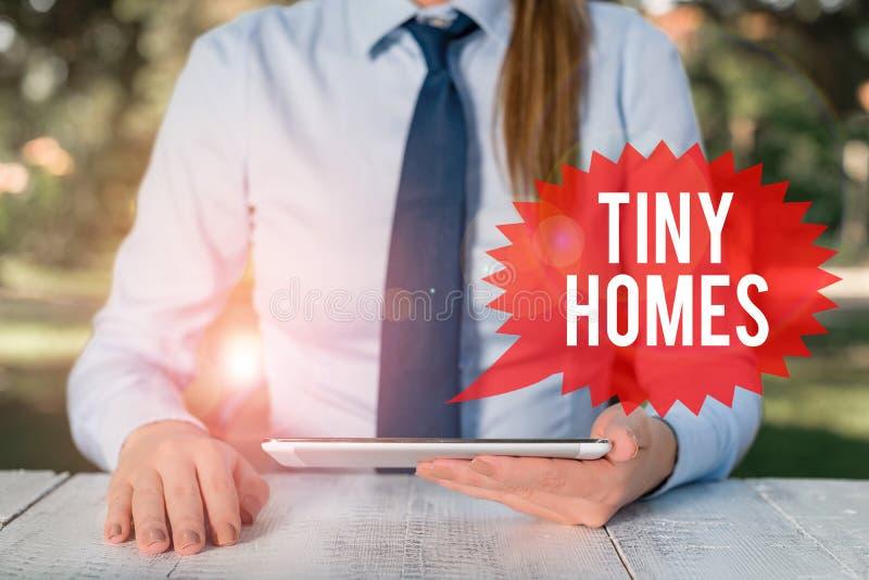 Scrittura di testo Tiny Homes Il concetto di business per le case contiene una sola stanza o due e una piccola entrata Femmina ec fotografia stock libera da diritti