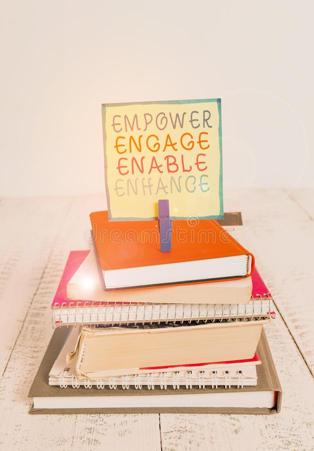 Scrittura di testo in Word per attivare il miglioramento Concetto aziendale per la motivazione di Empowerment Leadership immagine stock libera da diritti