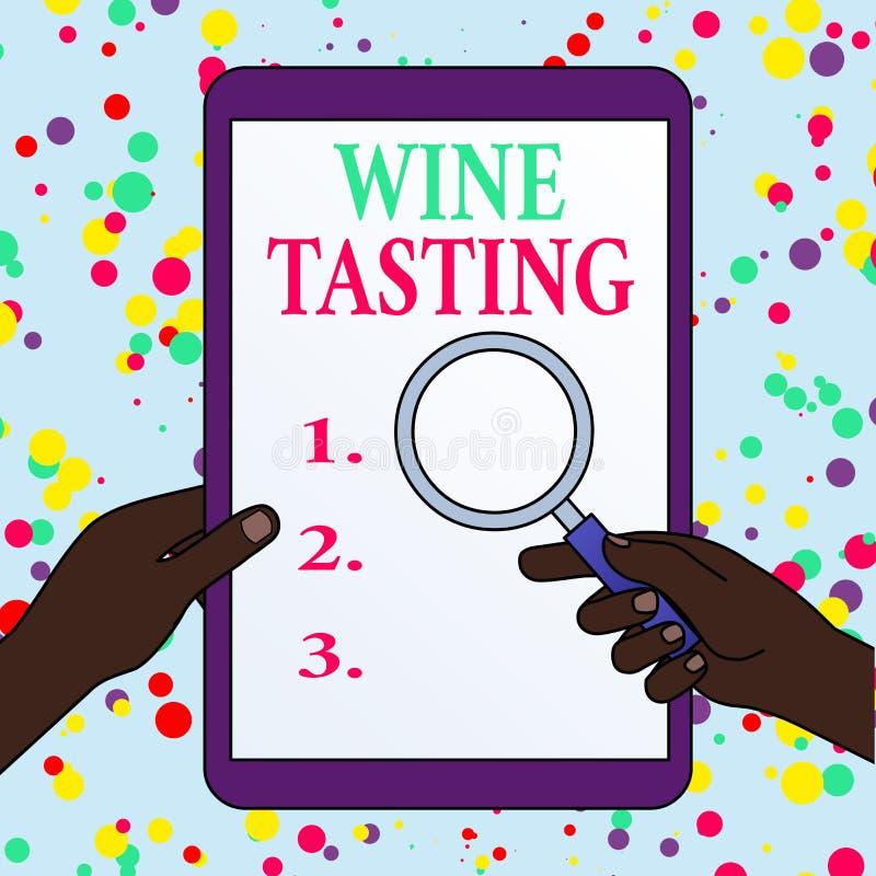 Scrittura di una nota che mostra la lavorazione del vino Gourmet Winery, gruppo sociale per Degustation Alcohol illustrazione vettoriale