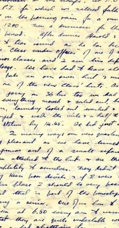 Scrittura a mano del diario di tempo di guerra immagini stock