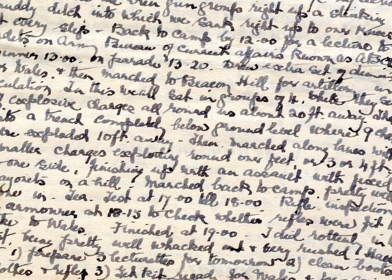 Scrittura a mano del diario di tempo di guerra fotografia stock