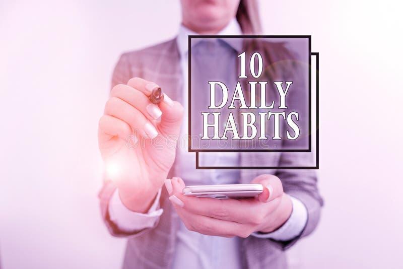 Scrittura manuale 10 Abitudini giornaliere Concetto che significa sano stile di vita di routine Buona nutrizione Esercita attivit fotografia stock