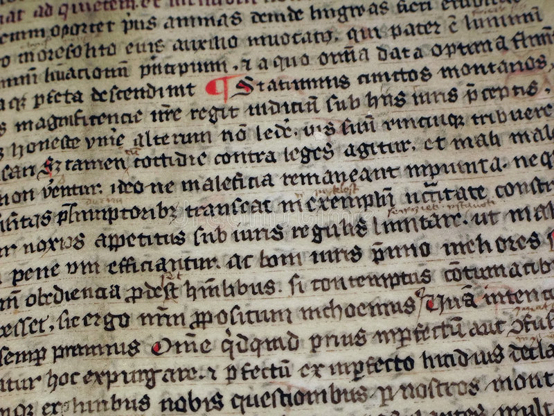 Scrittura medioevale fotografia stock