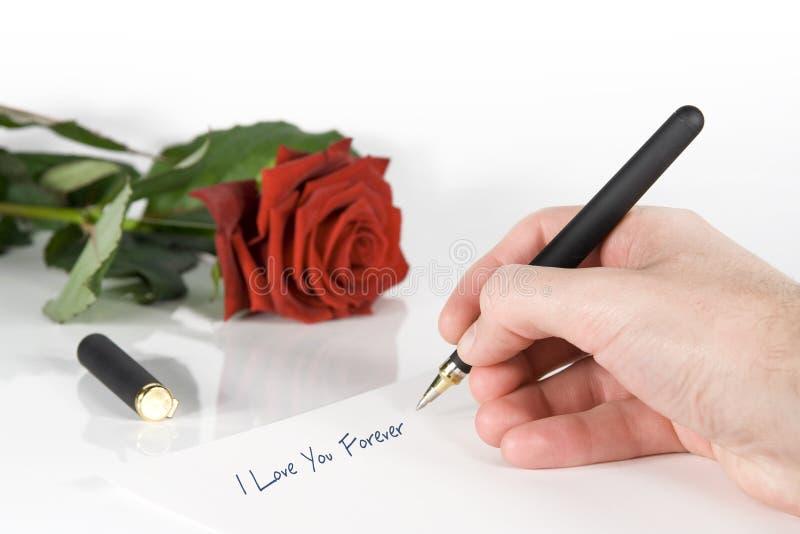 Scriva la lettera di amore immagine stock libera da diritti