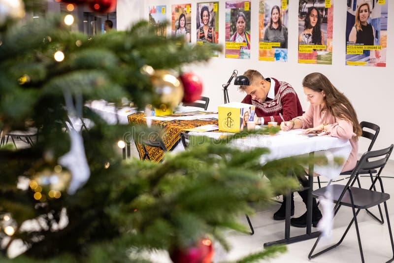 Scriva per i diritti, più grande evento di diritti umani di Amnesty International fotografia stock