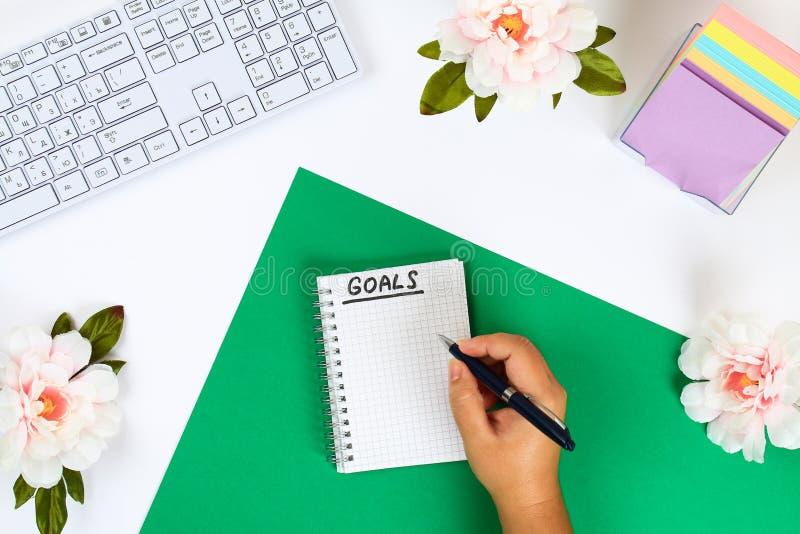 Scriva uno scopo per il nuovo anno 2010 in un taccuino bianco su un desktop bianco accanto ad una tazza da caffè e ad una tastier fotografie stock libere da diritti