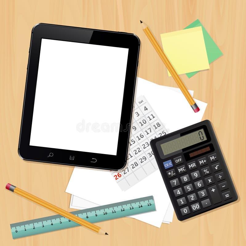 Scrivania con gli oggetti business royalty illustrazione gratis