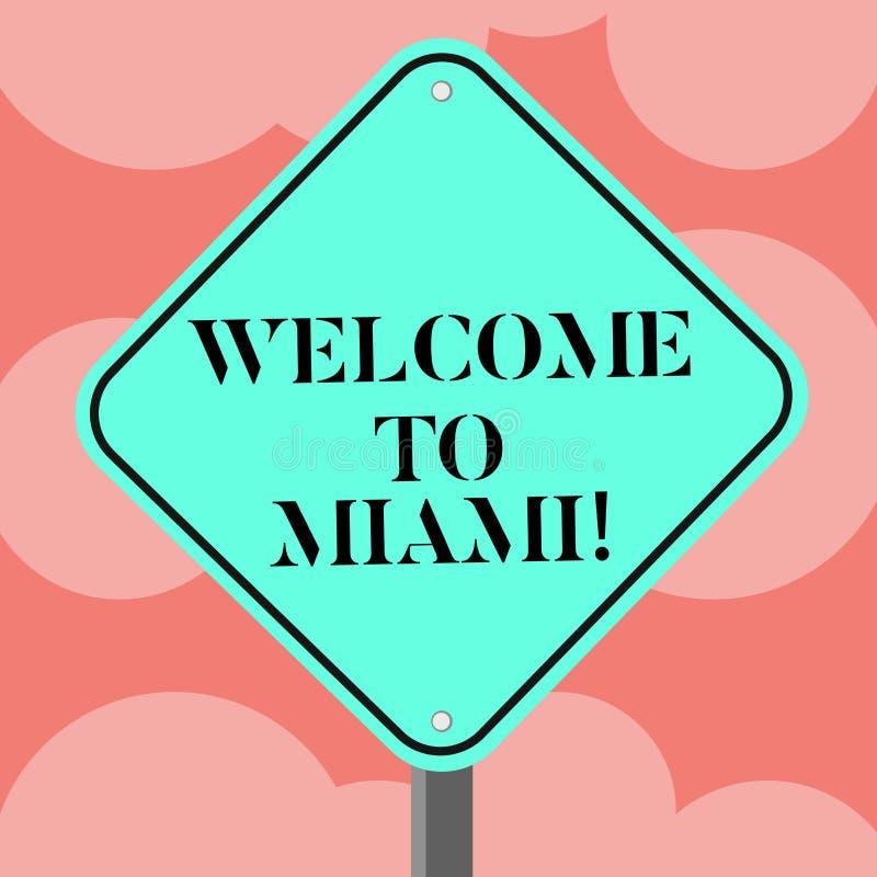 Scrivendo benvenuto di rappresentazione della nota a Miami Foto di affari che montra arrivare alla vacanza soleggiata della spiag royalty illustrazione gratis