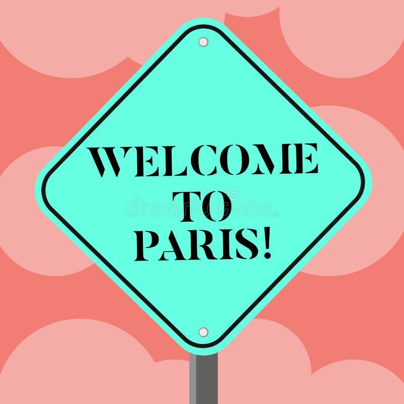 Scrivendo benvenuto di rappresentazione della nota a Parigi Foto di affari che montra arrivare alla capitale della cultura europe illustrazione di stock