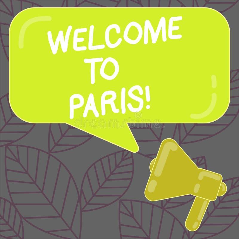 Scrivendo benvenuto di rappresentazione della nota a Parigi Foto di affari che montra arrivare alla capitale della cultura europe illustrazione vettoriale