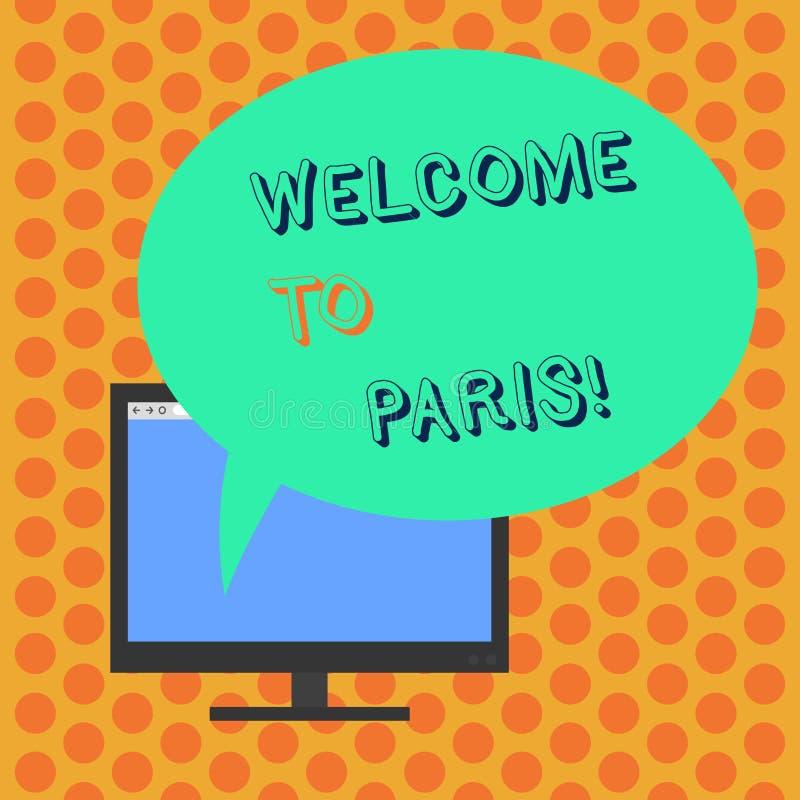 Scrivendo benvenuto di rappresentazione della nota a Parigi Foto di affari che montra arrivare alla capitale della cultura europe royalty illustrazione gratis