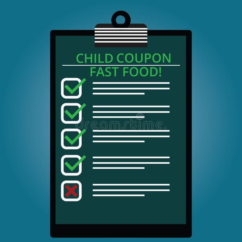 Scrivendo a buono del bambino di rappresentazione della nota alimenti a rapida preparazione La foto di affari che montra i pasti  fotografia stock