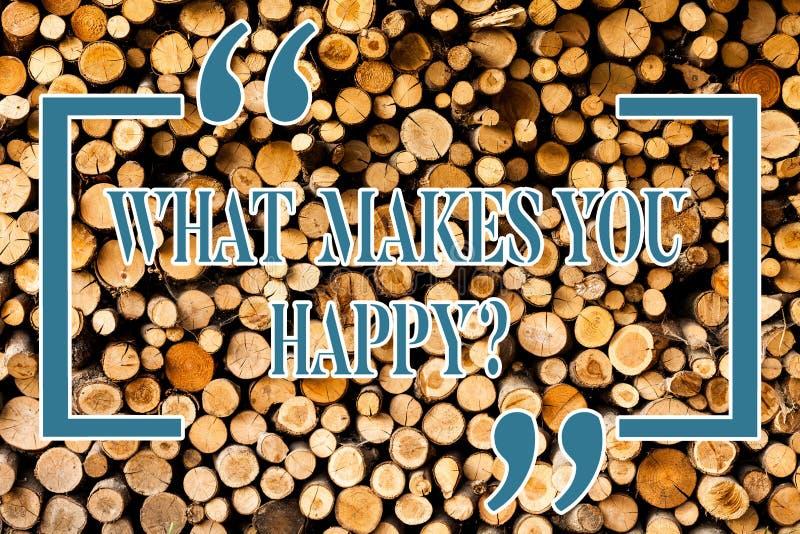 Scrivendo rappresentazione della nota che cosa vi rende Happyquestion La foto di affari che montra la felicità viene con amore e  fotografia stock
