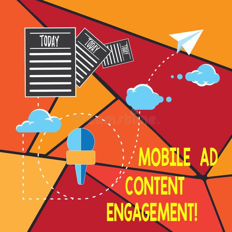 Scrivendo a rappresentazione della nota impegno mobile del contenuto dell'annuncio Foto di affari che montra media sociali che an illustrazione di stock