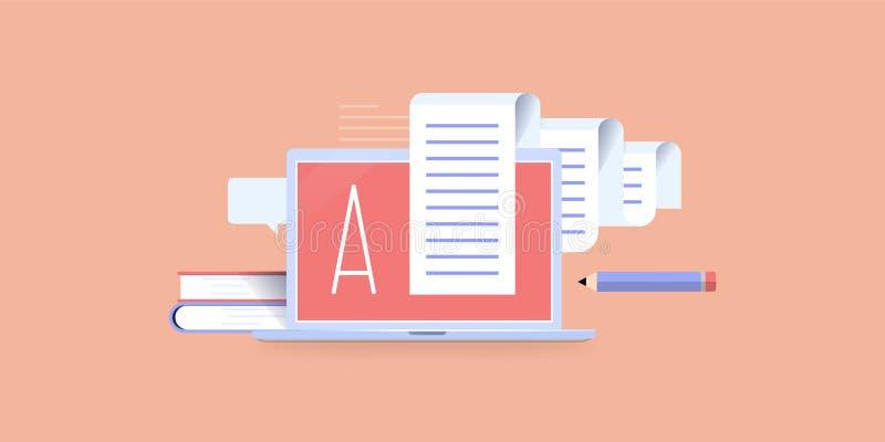 Scrivendo su un'icona di concetto del computer portatile immagine stock libera da diritti
