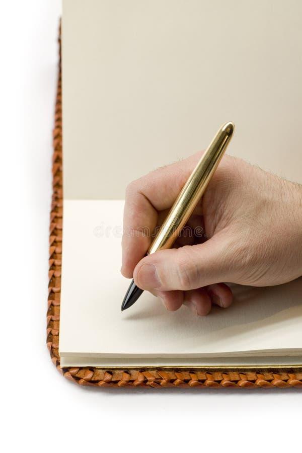 Scrivendo In Vecchio Libro In Bianco Fotografie Stock Libere da Diritti