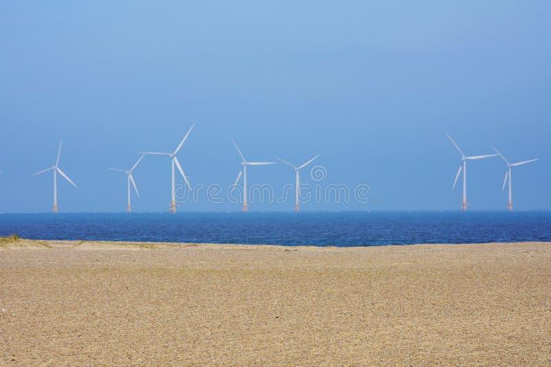Scroby insabbia il parco eolico, Great Yarmouth, Regno Unito fotografie stock libere da diritti