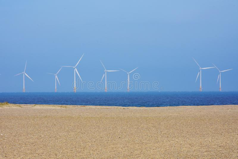 Scroby Sands Wind Farm, Great Yarmouth, UK. Scroby Sands Wind Farm near Great Yarmouth, Norfolk, England, UK. The Scroby Sands Wind Farm is a wind farm located royalty free stock photos