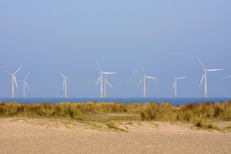 Scroby Sands Wind Farm, Great Yarmouth, UK. Scroby Sands Wind Farm near Great Yarmouth, Norfolk, England, UK. The Scroby Sands Wind Farm is a wind farm located royalty free stock images