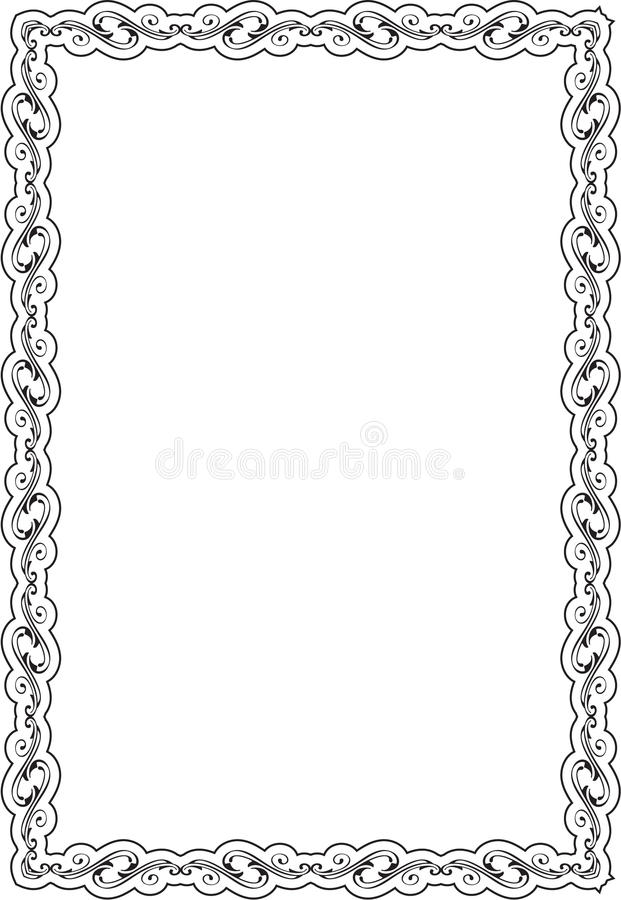 Scroll art ornate frame. Is isolated on white royalty free illustration