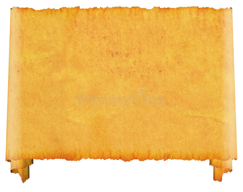 Scroll blank. An old roll of papyrus. stock illustration