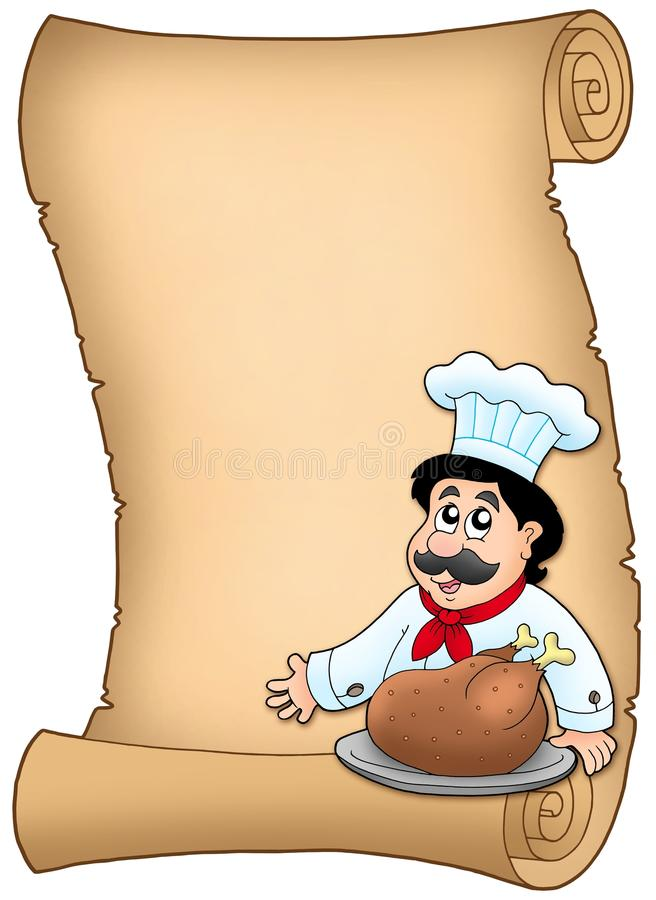 Download Scroll With Chef With Roasted Meat Stock Illustration - Image: 12010571