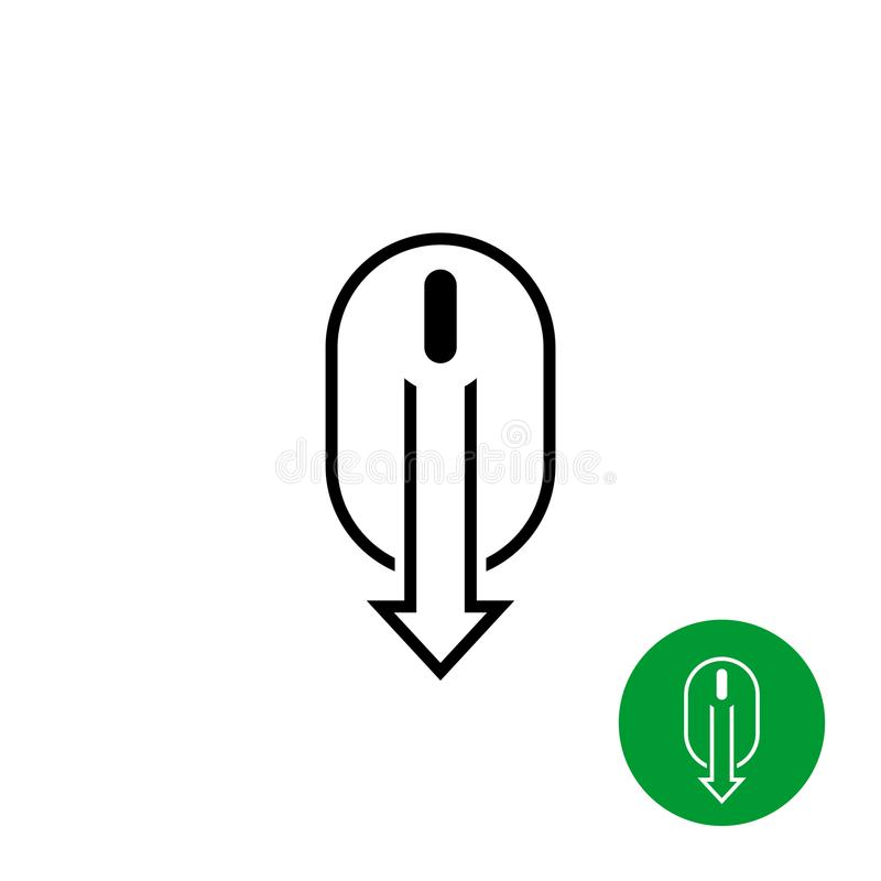Scroll down computer mouse black icon. vector illustration