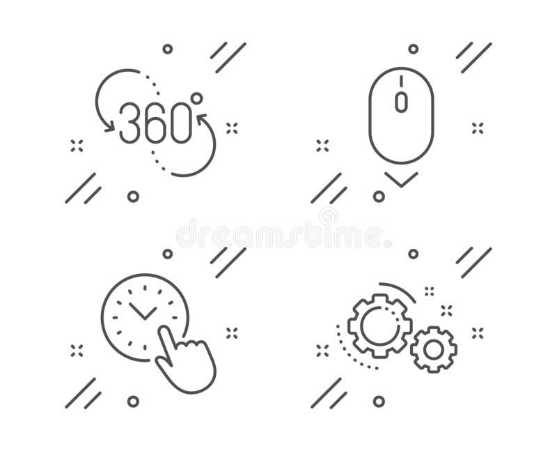 Scroll down, 360 degree and Time management icons set. Gears sign. Mouse swipe, Virtual reality, Office clock. Vector. Scroll down, 360 degree and Time vector illustration