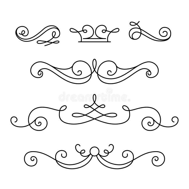 Scroll elements, set of vintage calligraphic vignettes vector illustration