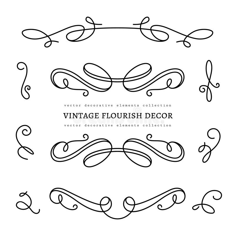 Scroll elements, set of vintage calligraphic vignettes. Vintage calligraphic vignettes and flourishes, page decoration template, dividers, set of decorative vector illustration