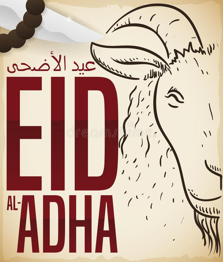 Ritual Knife, String Beads and Goat Draw for Eid al-Adha, Vector Illustration. Scroll with goat drawing, string beads and ritual knife: elements for the stock illustration