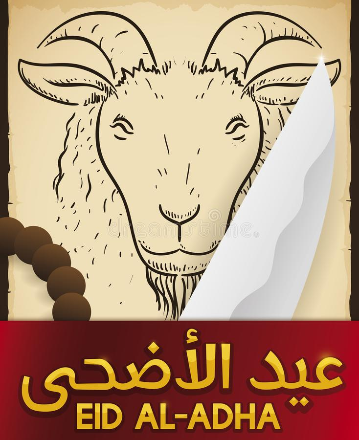 Scroll with Goat, Knife and String Beads for Eid al-Adha, Vector Illustration. Commemorative scroll with goat in hand drawn style, knife, string bead and label stock illustration