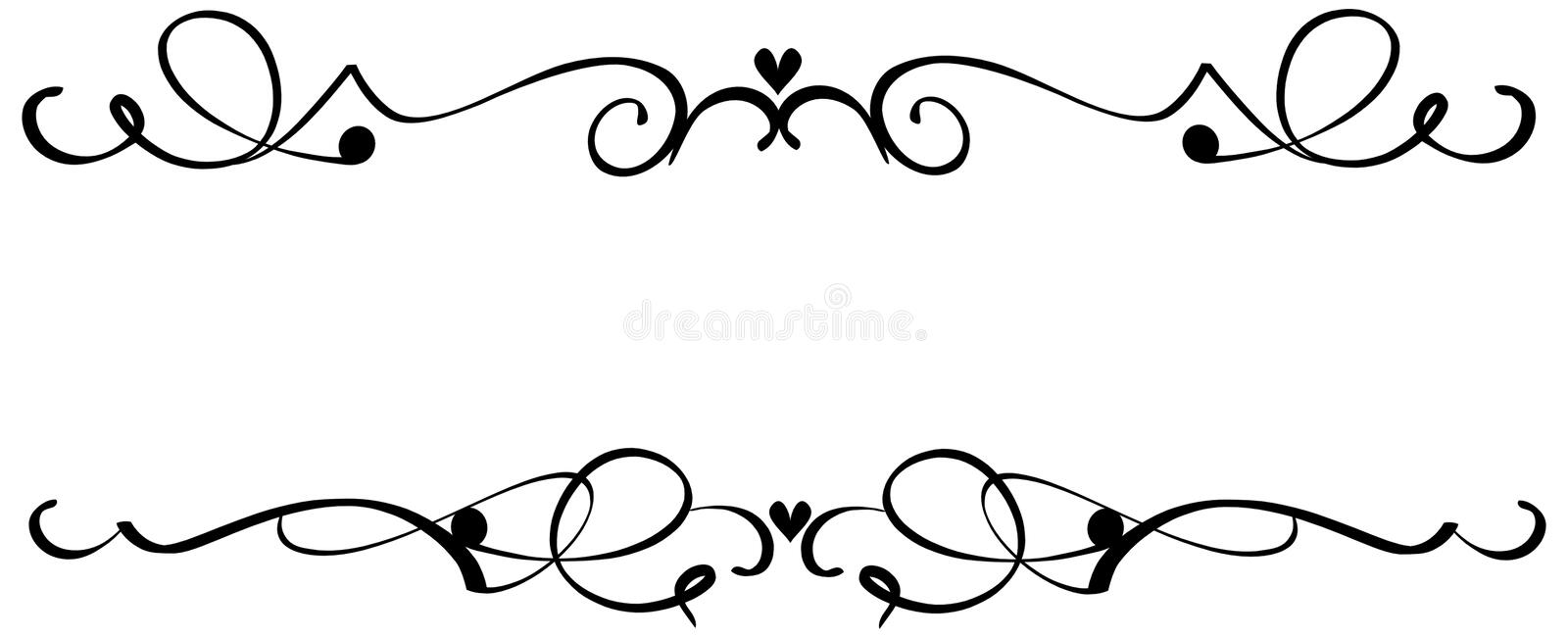 Scroll Heart Ornaments stock illustration