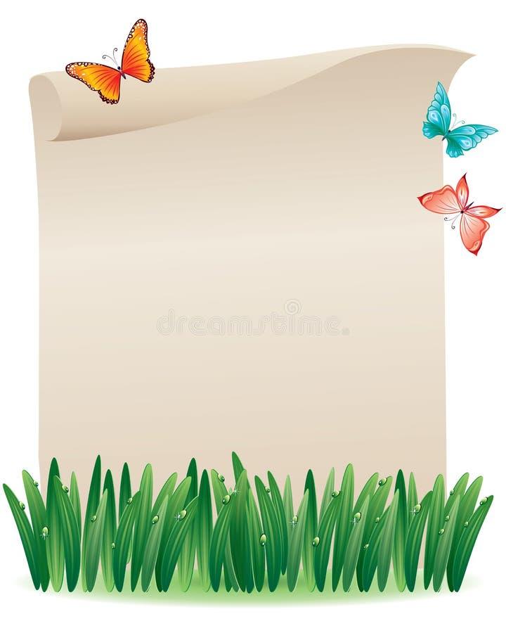 Scroll i gräset royaltyfri illustrationer