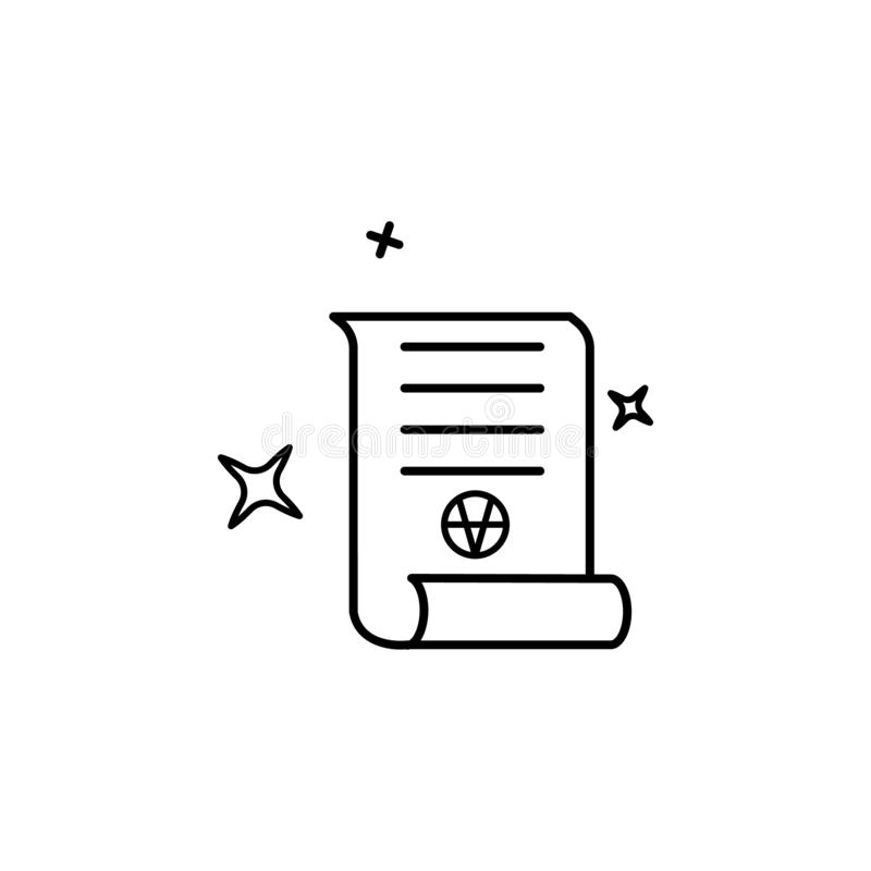 Scroll, magic icon. Element of magic for mobile concept and web apps icon. Thin line icon for website design and development stock illustration