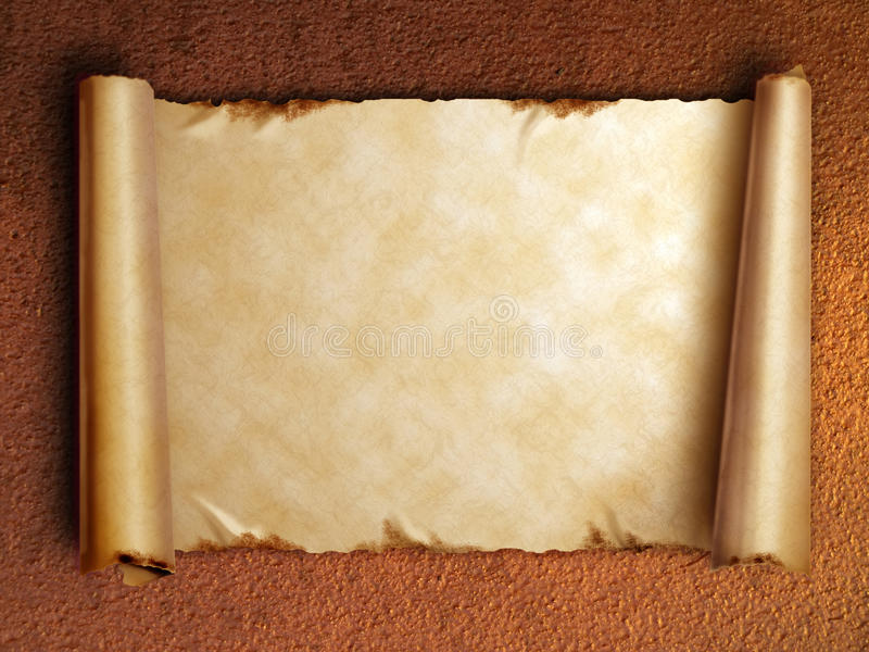 Scroll of old paper with curled edges stock image