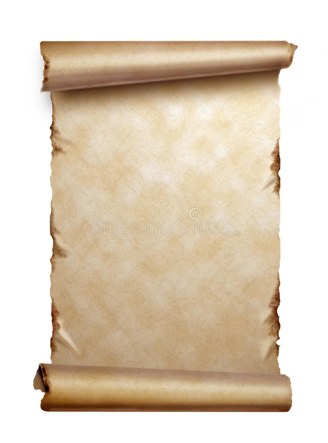 Download Scroll Of Old Paper With Curled Edges Isolated Stock Photo - Image: 22792438