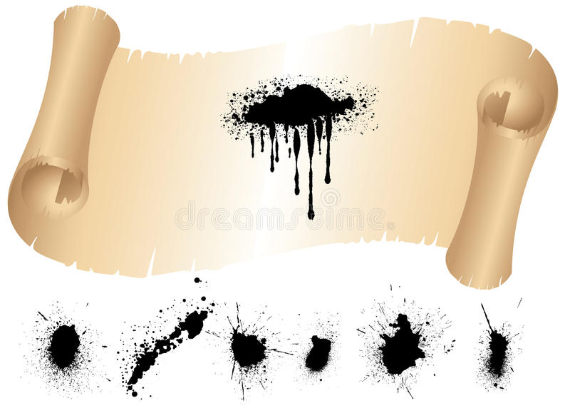 Download Scroll Of Old Paper And Ink Splat Set Stock Vector - Illustration: 22932661