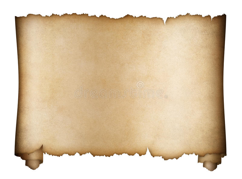 Scroll parchment or aged manuscript isolated royalty free stock images