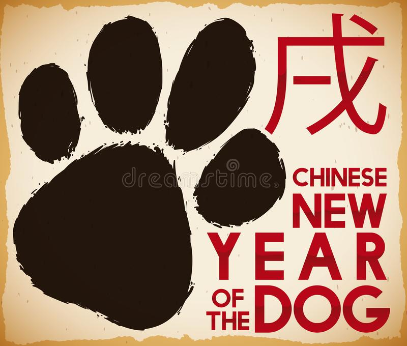 Scroll with Puppy Paw Print for Chinese New Year, Vector Illustration. Scroll with puppy paw print in brushstroke style to commemorate Chinese New Year of the vector illustration