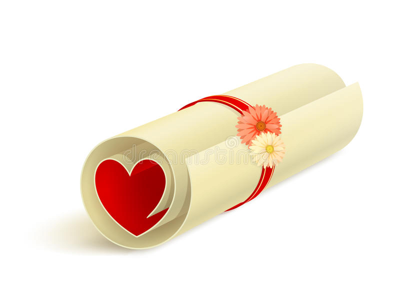 Scroll with red heart. Rolled sheet of paper with red heart inside, ribbon, flowers and small shadow on white background vector illustration