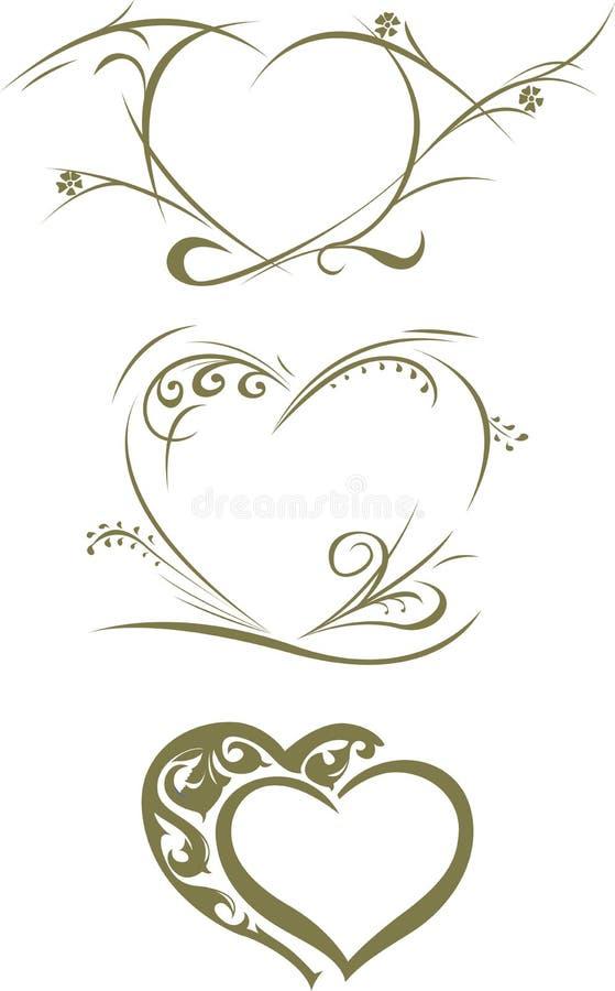 Scroll Set Heart vector illustration